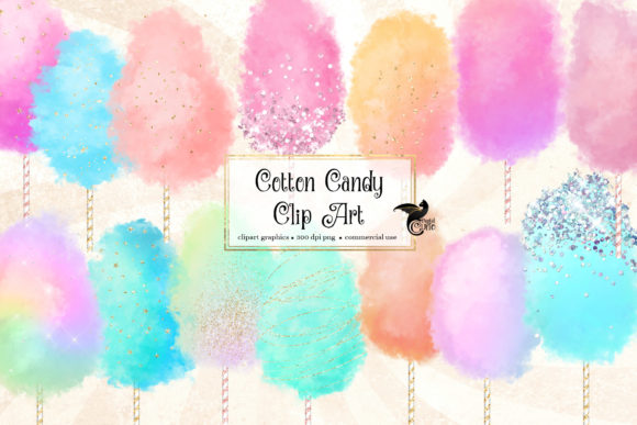 Print on Demand: Cotton Candy Clipart Graphic Illustrations By Digital Curio
