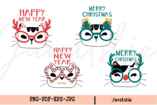 Cute Cat Face Christmas Clipart Set Graphic Illustrations By Janatshie