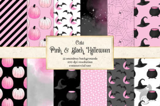 Print on Demand: Cute Pink and Black Halloween Graphic Backgrounds By Digital Curio