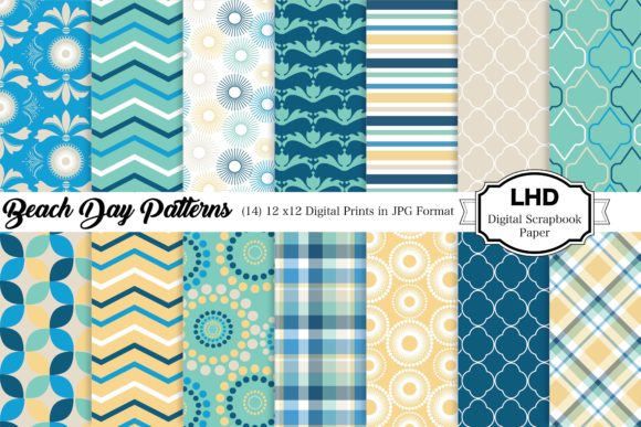 Digital Paper Beach Days Scrapbooking Graphic Patterns By LeskaHamatyDesign