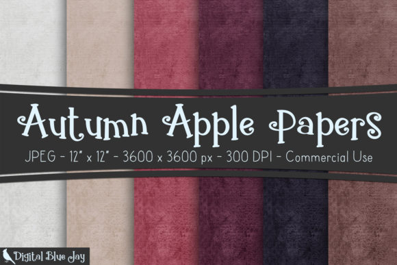 Digital Textured Paper Autumn Apple Graphic Backgrounds By digitalbluejay