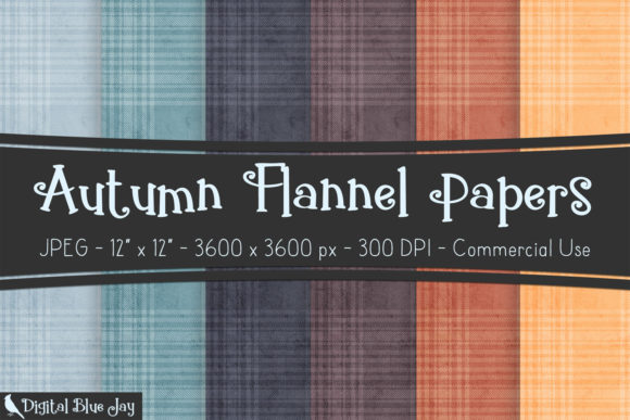 Digital Textured Paper Autumn Flannel Graphic Backgrounds By digitalbluejay