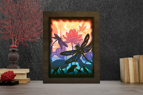 Print on Demand: Dragonfly Light Box Shadow Box Graphic Graphic 3D Shadow Box By LightBoxGoodMan