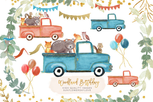 Print on Demand: Drive by Baby Shower Clipart, Woodland Graphic Illustrations By SunflowerLove