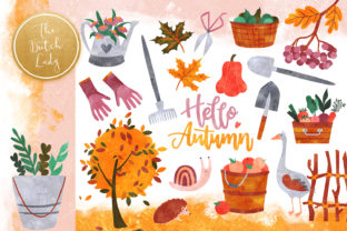 Print on Demand: Fall Garden Clipart Set Graphic Illustrations By daphnepopuliers