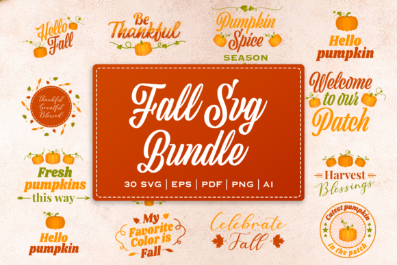Print on Demand: Fall SVG Bundle with Bonus Elements Graphic Illustrations By Pixtordesigns