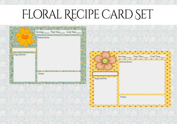 Print on Demand: Floral Recipe Cards Set Graphic Print Templates By CapeAirForce