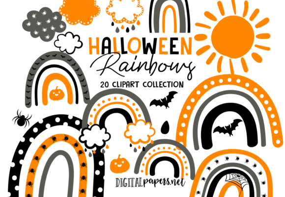 Print on Demand: Halloween Rainbows Graphic Illustrations By DigitalPapers