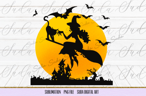 Print on Demand: Halloween Witch Cat Sublimation Graphic Illustrations By Suda Digital Art