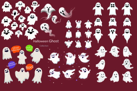 Print on Demand: Halloween Ghost Collection Graphic Illustrations By BOdesign