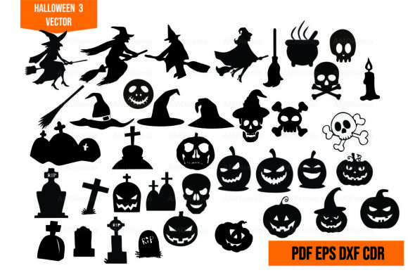 Halloweens 3 Vector Graphic Illustrations By AM Diseño