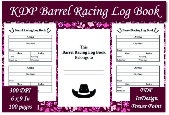 Print on Demand: KDP Barrel Racing Log Book Interior Graphic KDP Interiors By Ivana Prue