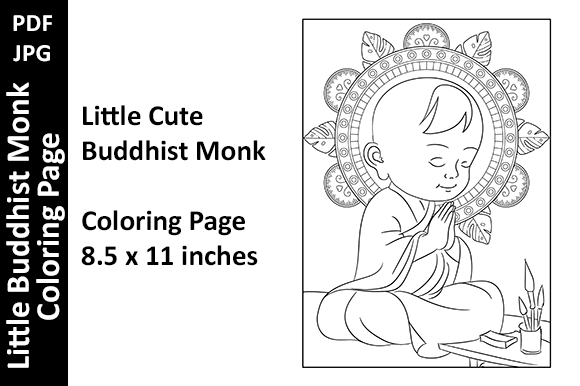 Little Buddhist Monk Zen Coloring Page Graphic Coloring Pages & Books By Oxyp