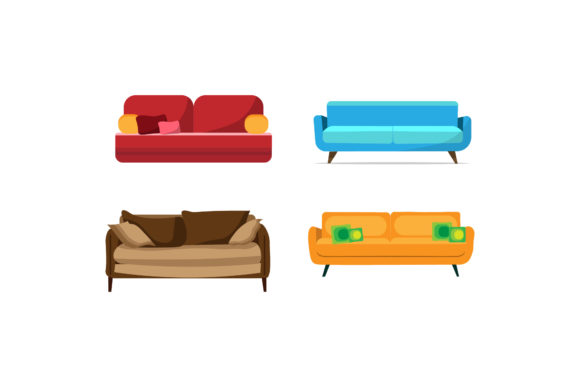 Living Room Sofa Colorful Illustrations Graphic Illustrations By PiGeometric