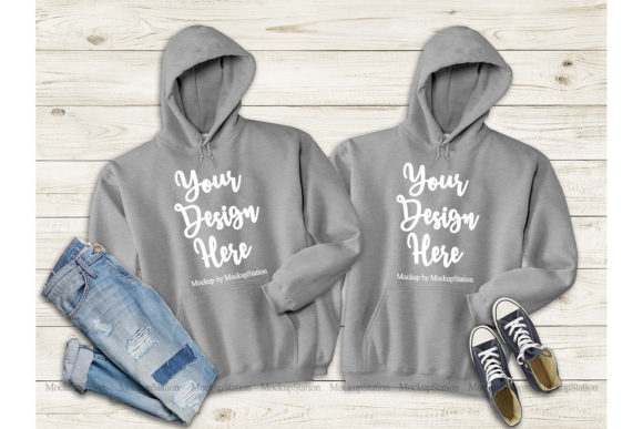 Print on Demand: Matching Sport Grey Hoodie Mock Up Graphic Product Mockups By Mockup Station