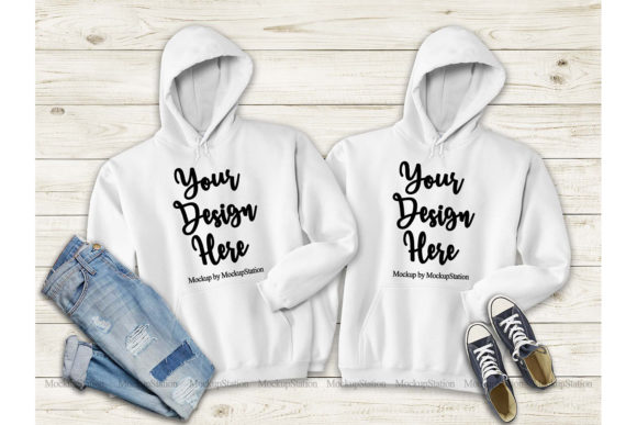 Print on Demand: Matching White Hoodie Mock Up Graphic Product Mockups By Mockup Station