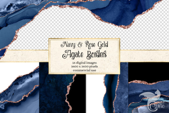 Print on Demand: Navy and Rose Gold Agate Borders Graphic Textures By Digital Curio