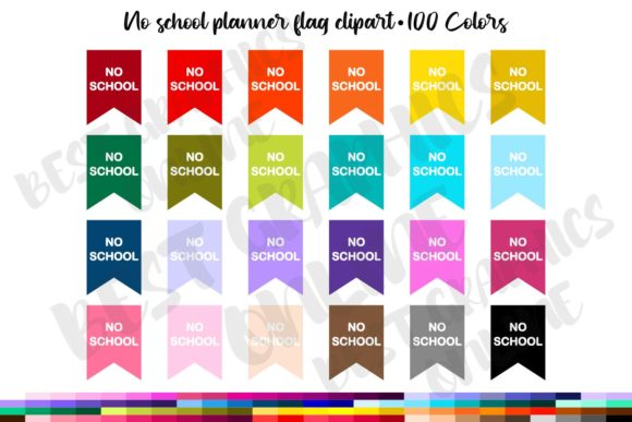 No School Planner Sticker Bunting Flag Graphic Illustrations By bestgraphicsonline