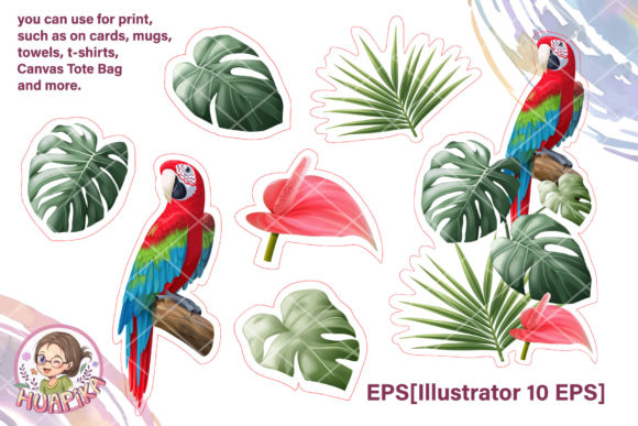 Parrot and Tropical Leave Clipart Graphic Illustrations By huapika