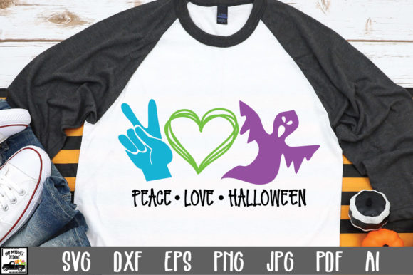 Print on Demand: Peace Love Halloween Graphic Crafts By oldmarketdesigns