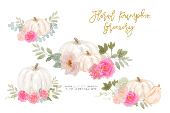 Print on Demand: Pink and White Pumpkins Clipart Autumn Graphic Illustrations By SunflowerLove