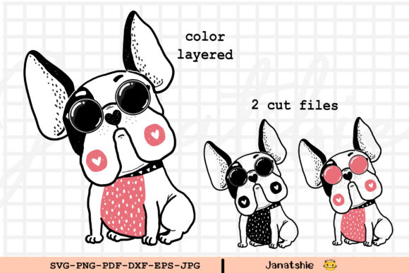 SVG Cut File Cute Frenchie Dog Clipart Graphic Illustrations By Janatshie