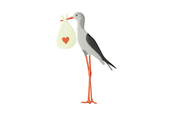 Print on Demand: Stork with a Bag Birds Embroidery Design By EmbArt