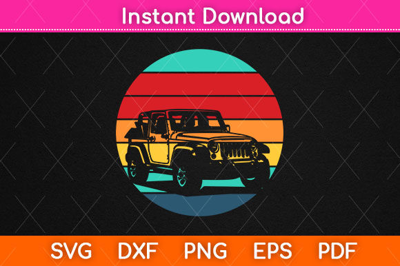 Print on Demand: Vintage Retro Jeep Svg Design Cut File Graphic Crafts By Graphic School