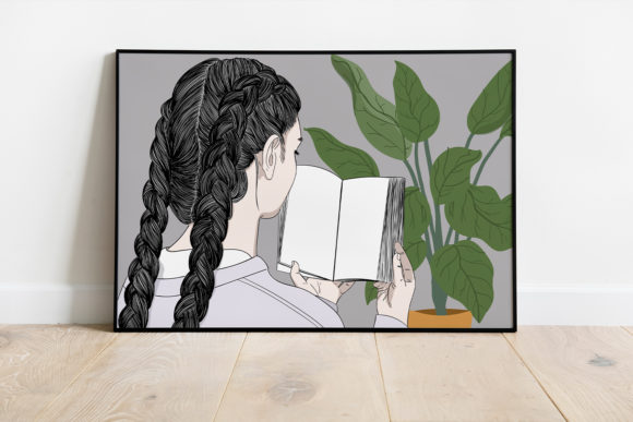 Print on Demand: Wall Art a Girl Reading a Book at Home Graphic Illustrations By Saydung89