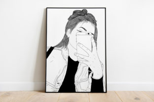 Print on Demand: Wall Art a Girl Taking a Selfie Graphic Illustrations By Saydung89