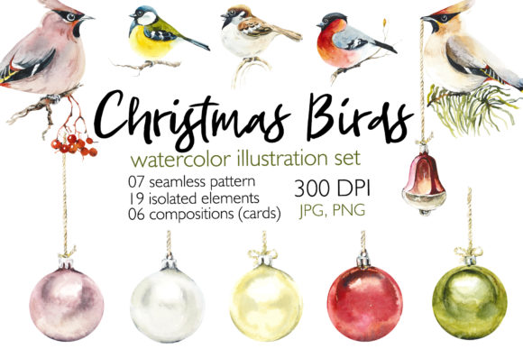 Watercolor Christmas Birds Graphic Illustrations By Мария Кутузова