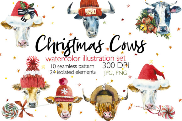 Watercolor Christmas Cows Graphic Illustrations By Мария Кутузова