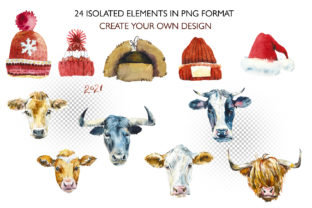 Watercolor Christmas Cows Graphic Illustrations By Мария Кутузова 2