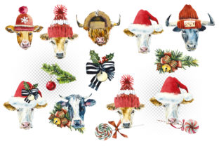 Watercolor Christmas Cows Graphic Illustrations By Мария Кутузова 3