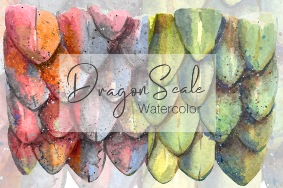 Watercolor Dragon Scale Pattern Graphic Illustrations By tatibordiu