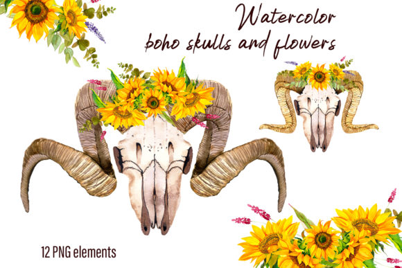 Print on Demand: Watercolor Clipart Boho Skull and Flower Graphic Illustrations By ElenaZlataArt