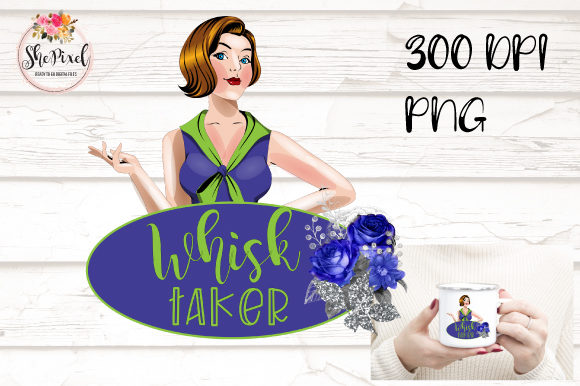 Print on Demand: Whisk Taker Clipart, Retro Woman, Baker Graphic Crafts By Sublimation Hut