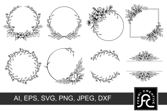 Print on Demand: Wreath Clipart Frame SVG Graphic Crafts By Febri Creative