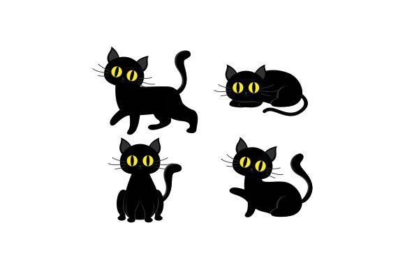Halloween Cat Collection Illustration Graphic Logos By 2qnah