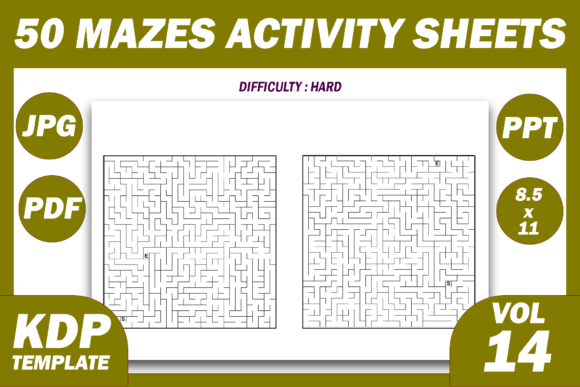 Print on Demand: 50 Maze Puzzles KDP Interior Volume 14 Graphic KDP Interiors By Fayne