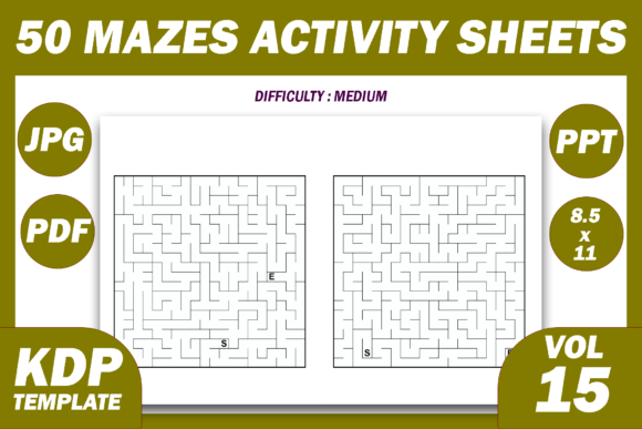 Print on Demand: 50 Maze Puzzles KDP Interior Volume 15 Graphic KDP Interiors By Fayne