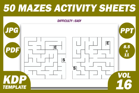 Print on Demand: 50 Maze Puzzles KDP Interior Volume 16 Graphic KDP Interiors By Fayne