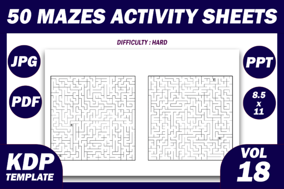 Print on Demand: 50 Maze Puzzles KDP Interior Volume 18 Graphic KDP Interiors By Fayne