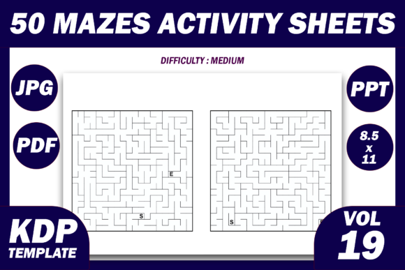 Print on Demand: 50 Maze Puzzles KDP Interior Volume 19 Graphic KDP Interiors By Fayne
