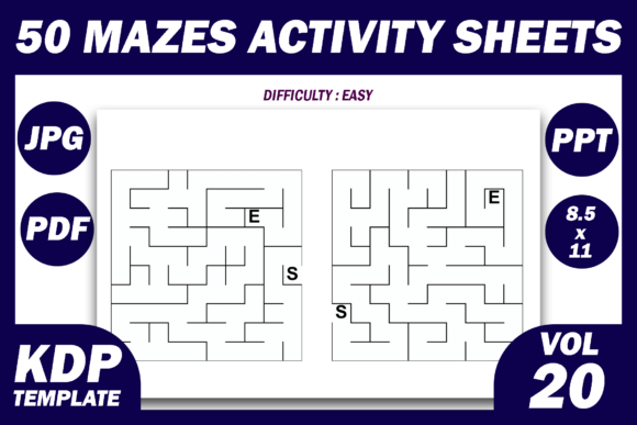 Print on Demand: 50 Maze Puzzles KDP Interior Volume 20 Graphic KDP Interiors By Fayne