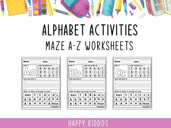 Alphabet Activities: Maze a-Z Worksheet Graphic K By Happy Kiddos