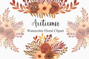 Print on Demand: Autumn Watercolor Floral Clipart PNG Graphic Illustrations By PinkPearly