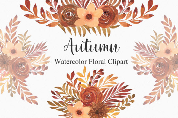 Autumn Watercolor Floral Clipart PNG Graphic Illustrations By PinkPearly