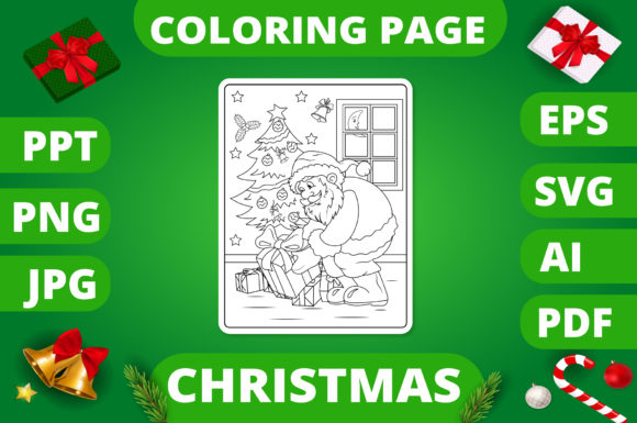 Print on Demand: Christmas Coloring Page for Kids #1 V2 Graphic Coloring Pages & Books Kids By MikeToon Studio