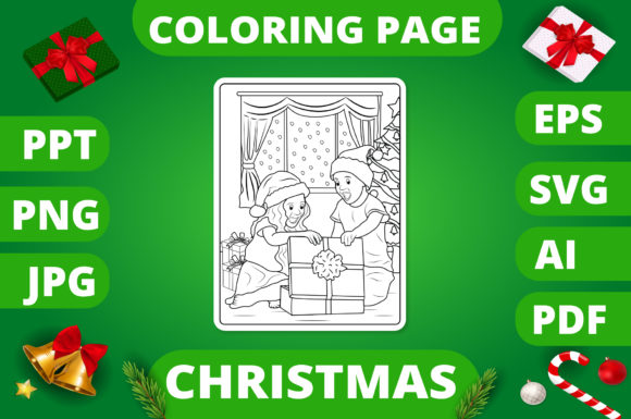 Print on Demand: Christmas Coloring Page for Kids #10 V2 Graphic Coloring Pages & Books Kids By MikeToon Studio